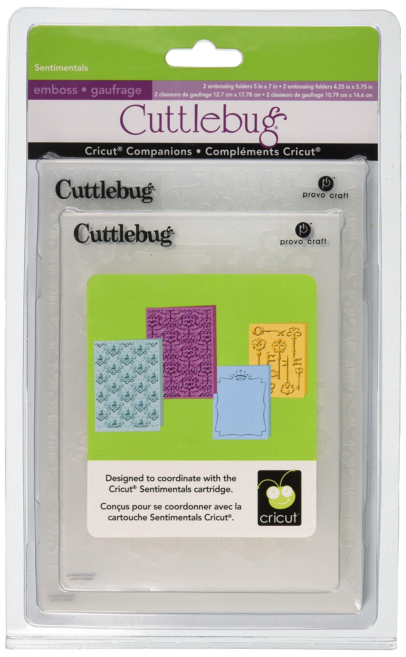 Cuttlebug Provo Craft Cricut Companion Embossing Folder Bundle, Sentimental