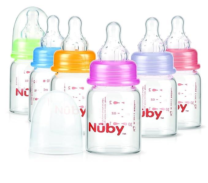Nuby ID1177 - Biberón de cristal con tetina de silicona de flujo lento, 0+m, 60 ml