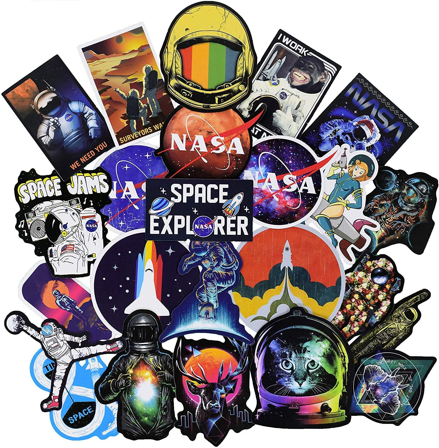 100Pcs NASA Space Explorer Galaxy Theme Stickers Variety Vinyl Car Sticker Motorcycle Bicycle Luggage Decal Graffiti Patches Skateboard Stickers for Laptop Stickers for Kid and Adult