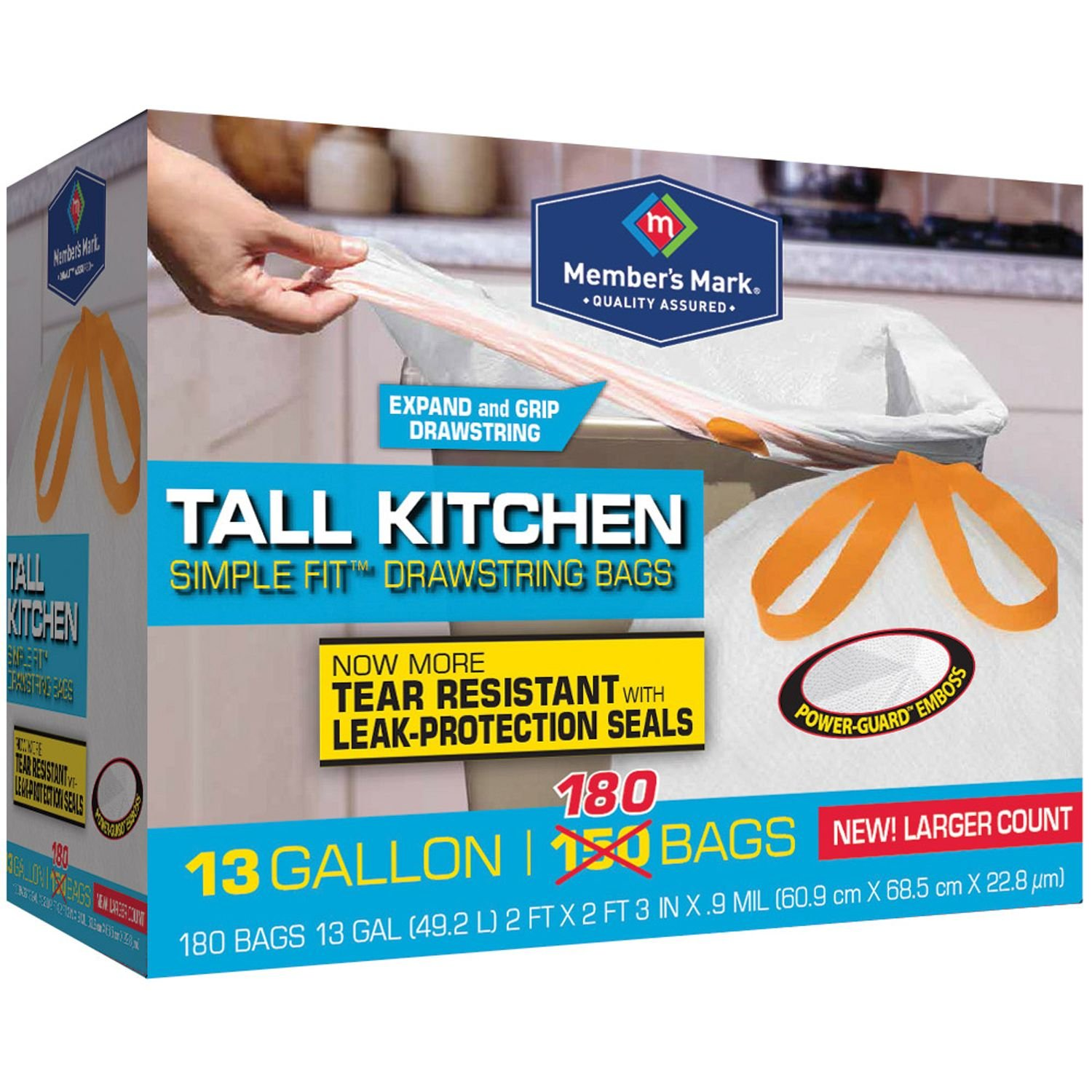 Amazon.com: Member\'s Mark Tall Kitchen Simple Fit Drawstring with ...