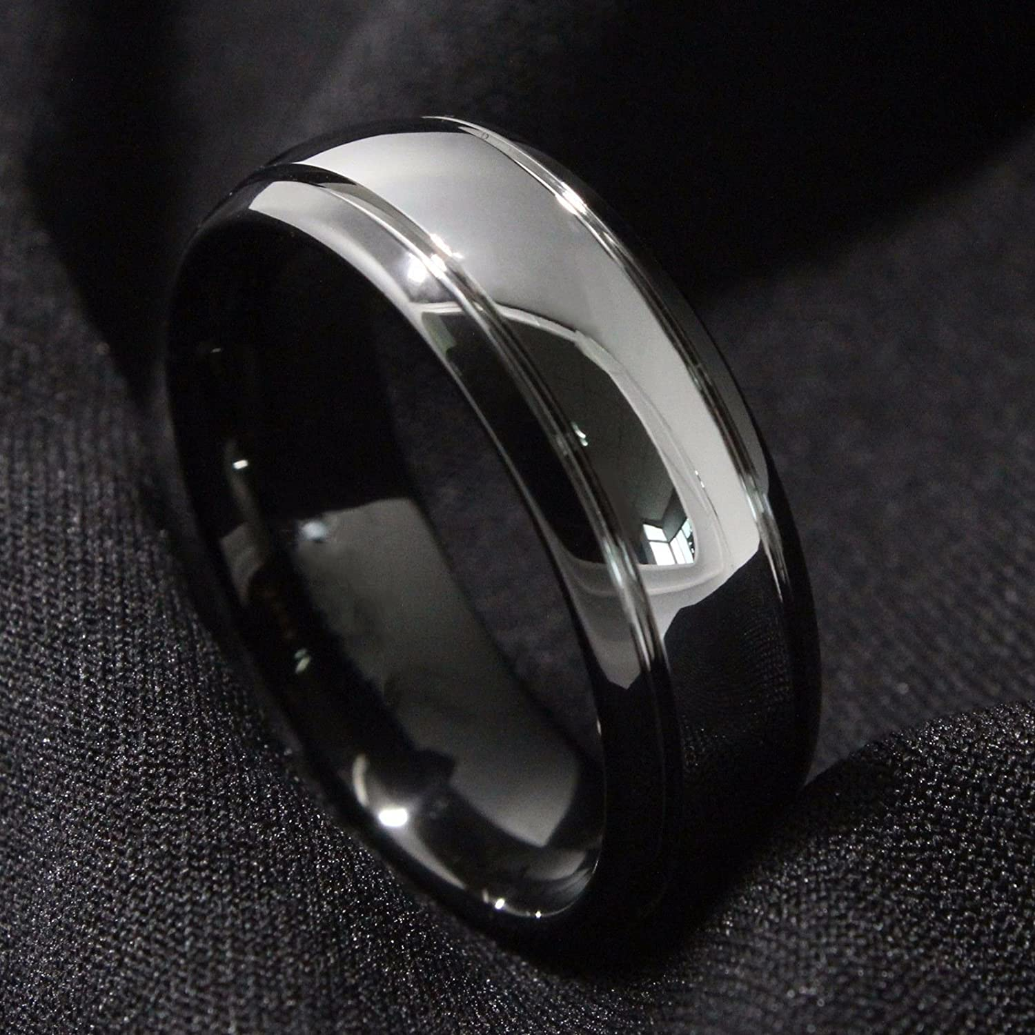 Men Wedding Bands Black 8 mm Mens Wedding Bands Black Tungsten