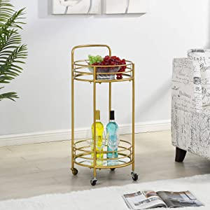 FirsTime & Co. Gold Joliet Round Bar Cart, American Crafted, Gold, 16 x 16 x 33.5 ,