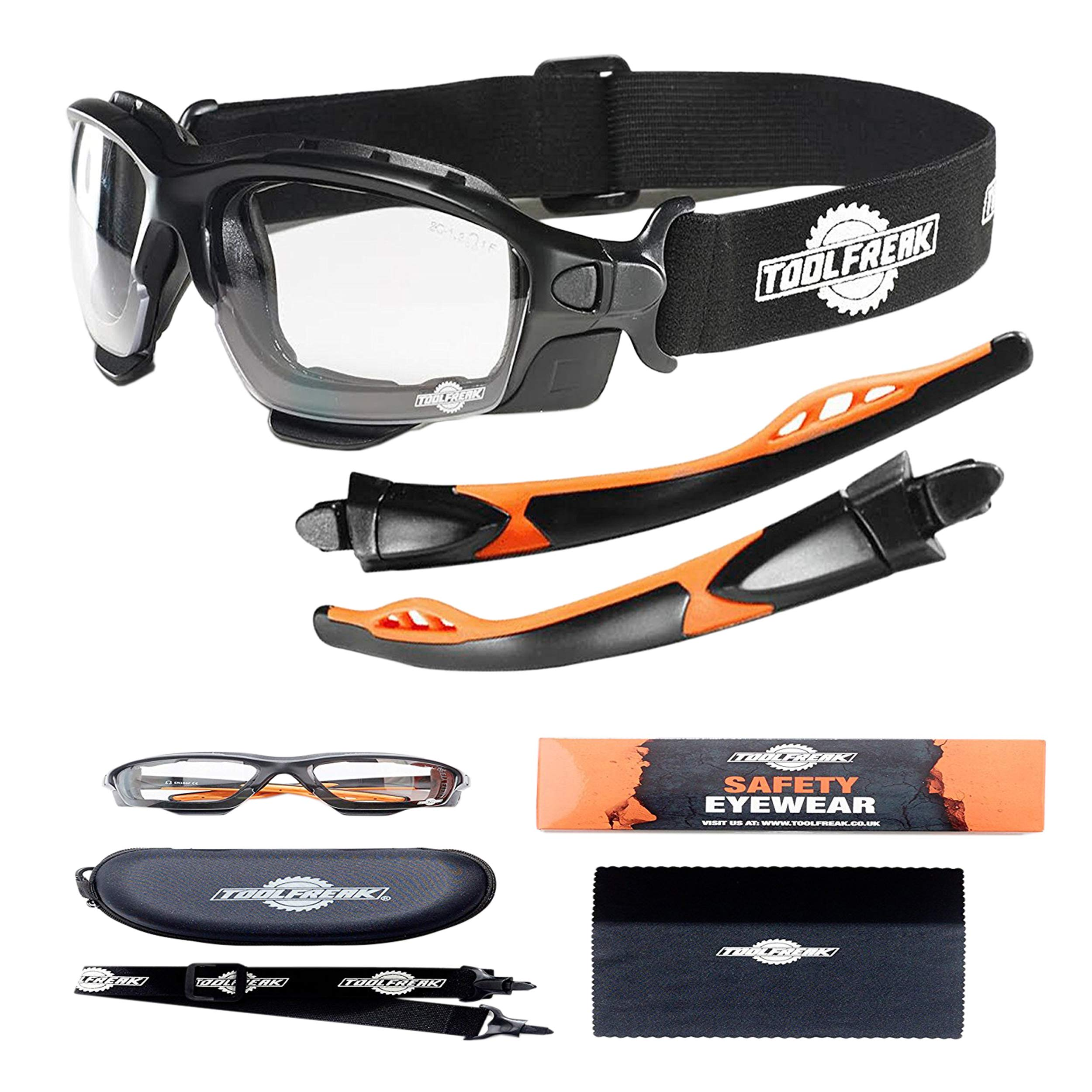ToolFreak Spoggles, Safety Glasses and Protective Goggles, Eyewear Foam Padded for Comfort and Better Protection, ANSI Z87 Rated, Clear Lens with UV and Impact Protection by ToolFreak
