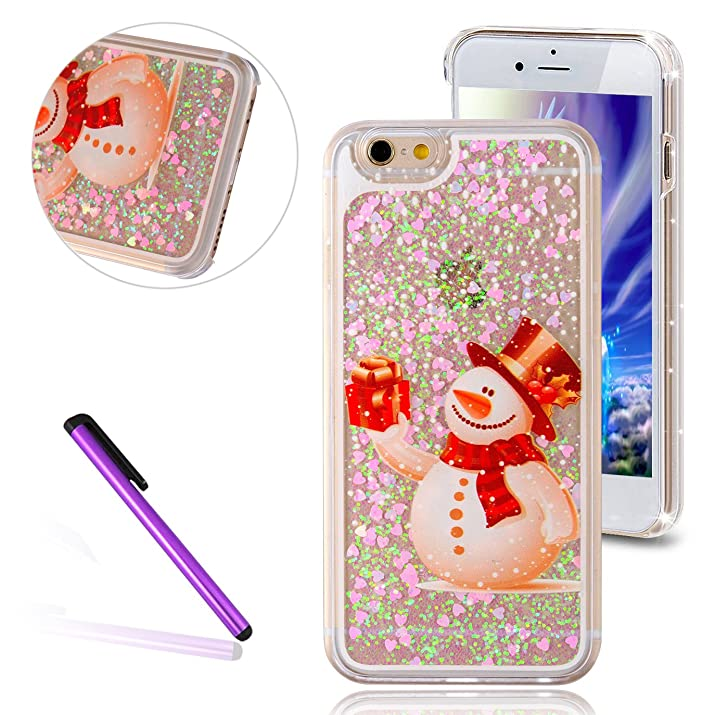 "6S Plus Case,iPhone 6 Plus Case,EMAXELER Christmas Series Pattern Glitter Liquid Floating Stars Moving PC Hard Case for iPhone 6 Plus(2014 Release)/6S Plus(2015 Release)(5.5"")1 Stylus Pen-Snowman&Gift"