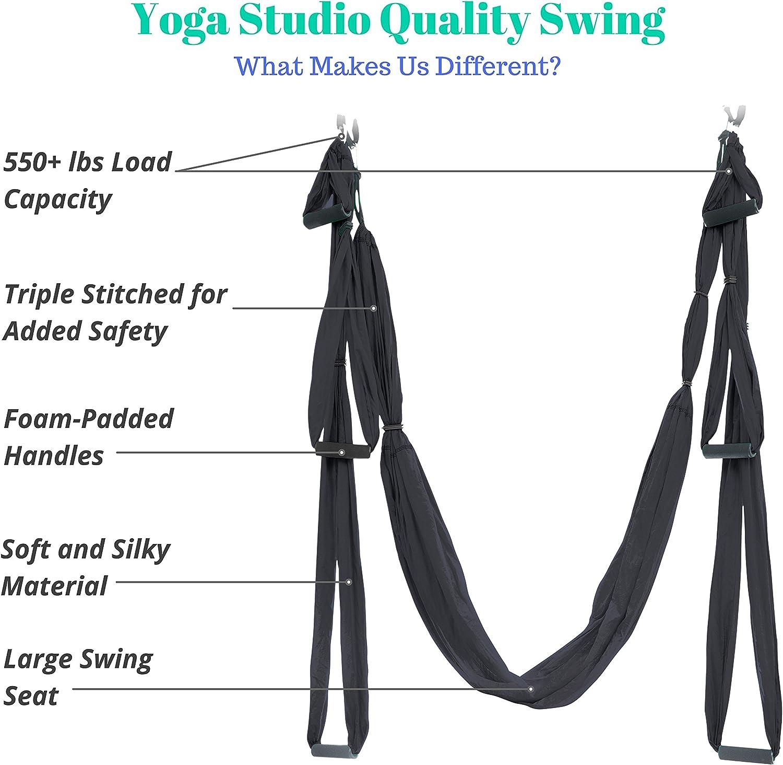 UpCircleSeven Aerial Yoga Swing Set – Yoga Hammock Sling Kit Extension Straps eBook – Antigravity Ceiling Hanging Yoga Sling – Inversion Swing for Beginners Kids