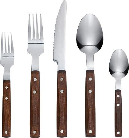 IKEA RUSTIK juego de vajilla de acero inoxidable con mango de madera – 20 piezas de cubiertos – Incluye tenedor de cuchillo cuchara cuchara cuchara cuchara cuchara postre / tenedor de ensalada +