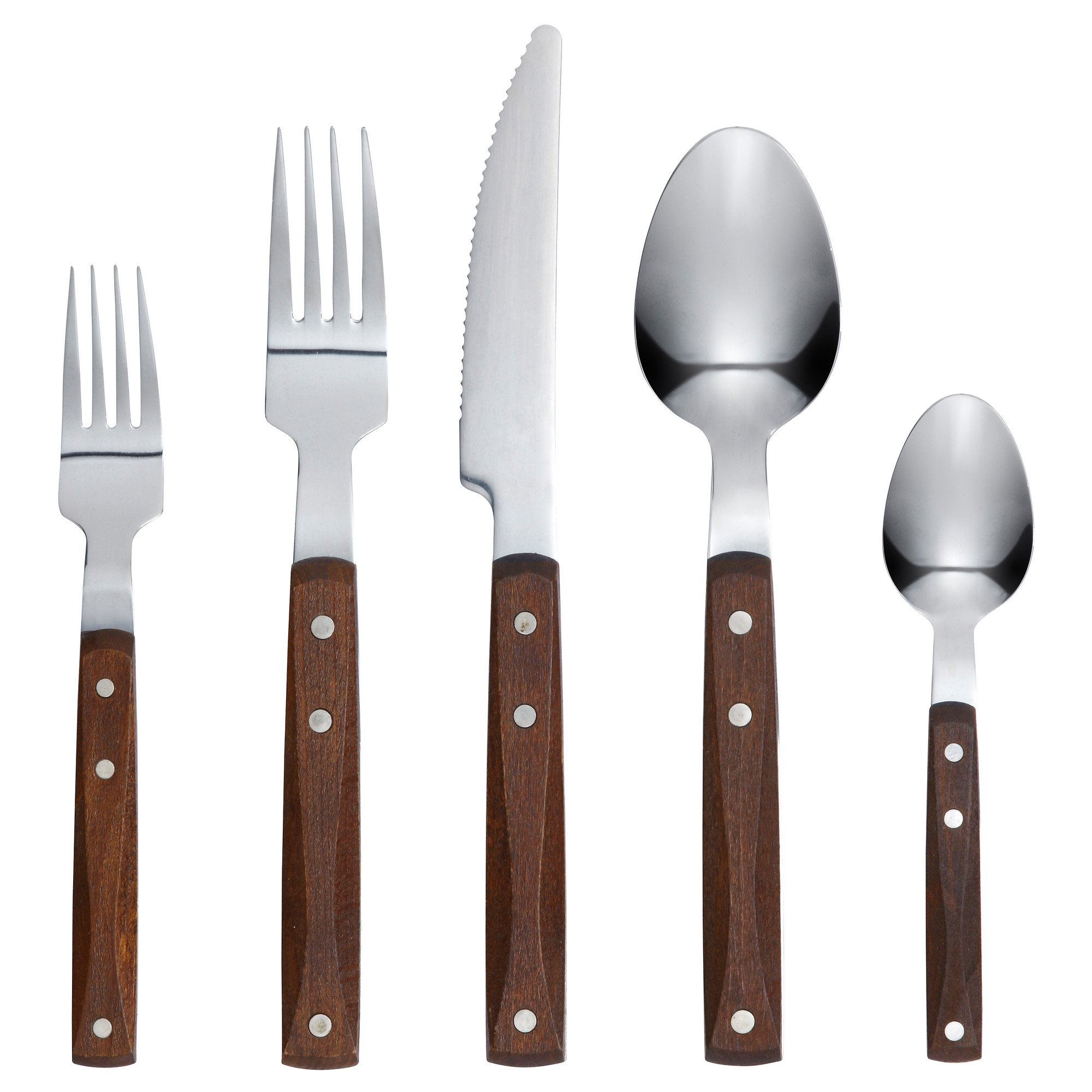 IKEA RUSTIK Wooden Handle Stainless Steel Flatware Tableware Set - 20 Piece Place Setting Silverware - Includes Fork Knife Spoon Teaspoon Dessert / Salad Fork + 100% Cotton Napkins - Service for 4