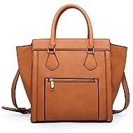 Dasein Women's Satchel Handbags Top Handle Purses Shoulder Bags Vegan Leather Tote for Ladies 2pcs Matching Wallet