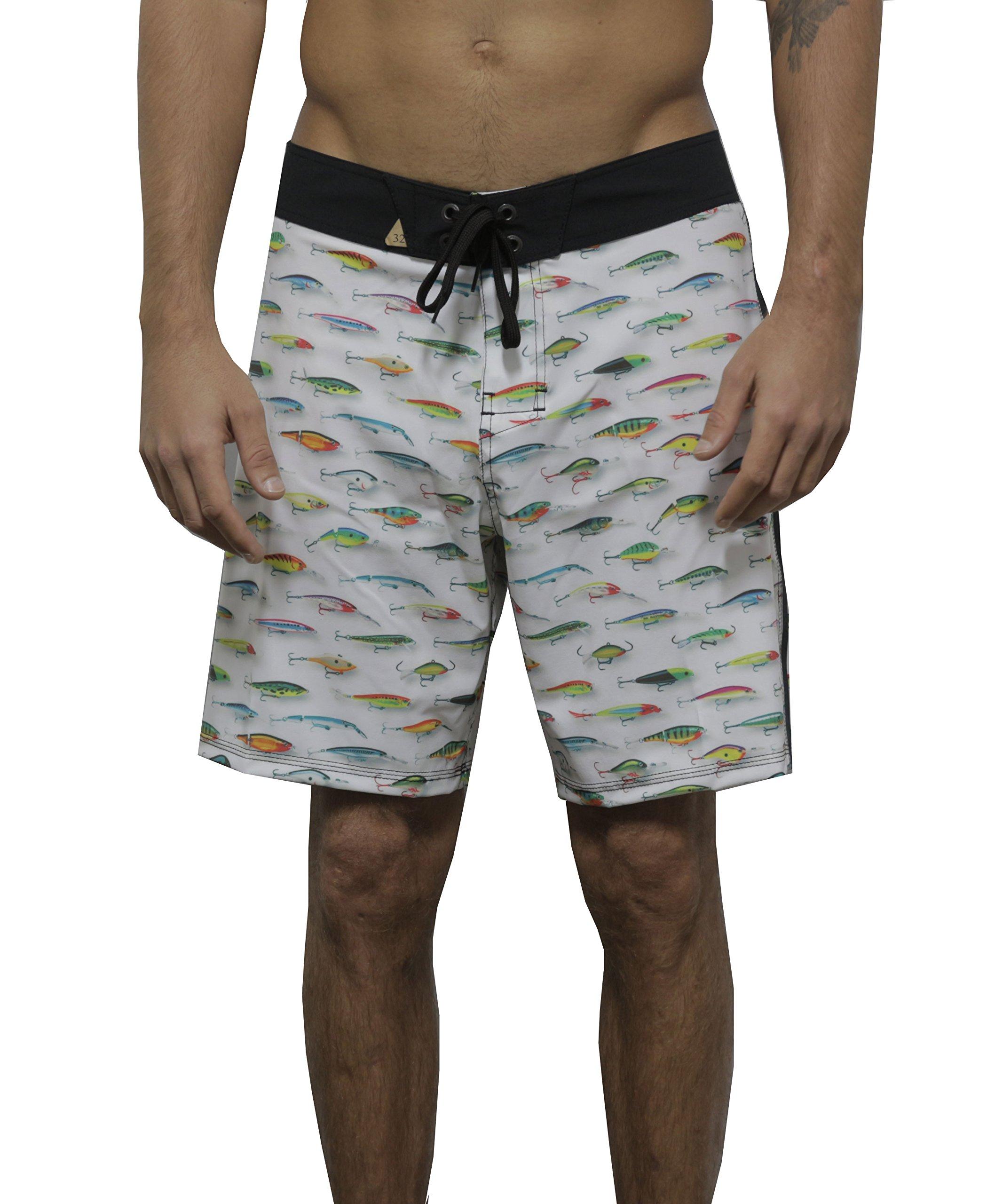 Psychodelic Men Swim Surf Summer Beach Stretch 18'' Rapala Board Short Trunk