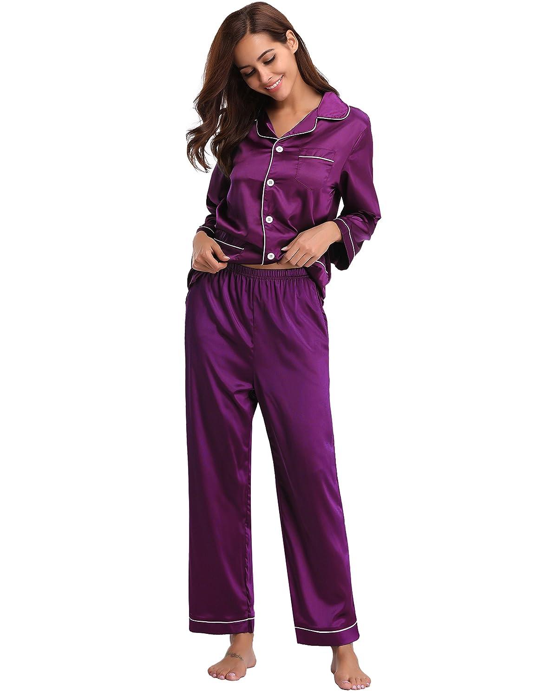 Sleepwear per Tutte Le Stagioni. Aibrou Donna Pigiama a Maniche Lunghe Camicia da Notte Pigiama