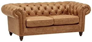 "Stone & Beam Bradbury Chesterfield Modern Sofa, 79""W, Cognac"