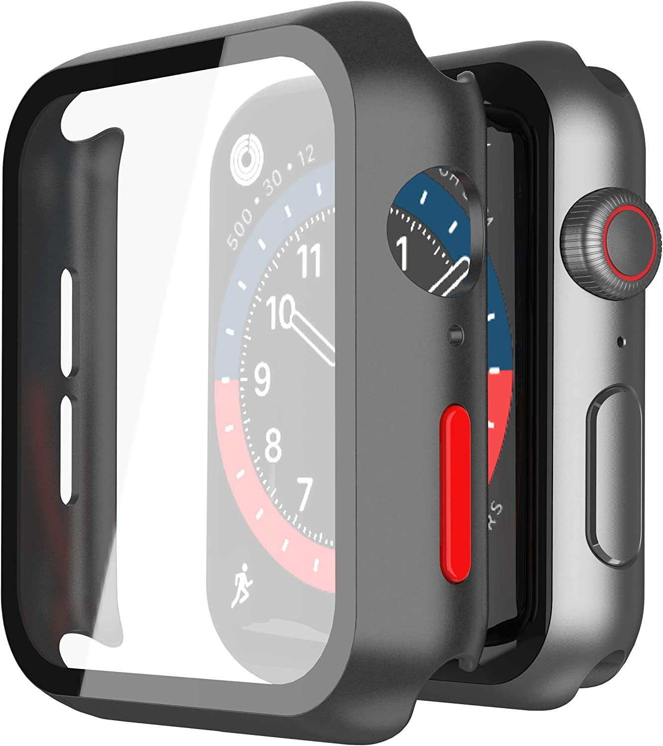 Misxi 2-Pack Hard PC Case with Tempered Glass Screen Protector Compatible with Apple Watch Series 6 SE Series 5 Series 4 44mm - (Black with Red Button)
