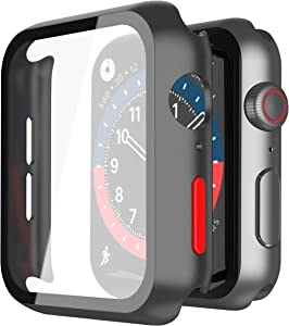 Misxi 2 Pack Hard PC Case with Tempered Glass Screen Protector Ultra-thin iWatch Cover Compatible with Apple Watch Series 6 SE Series 5 Series 4 40mm, Red Button, Matte Black