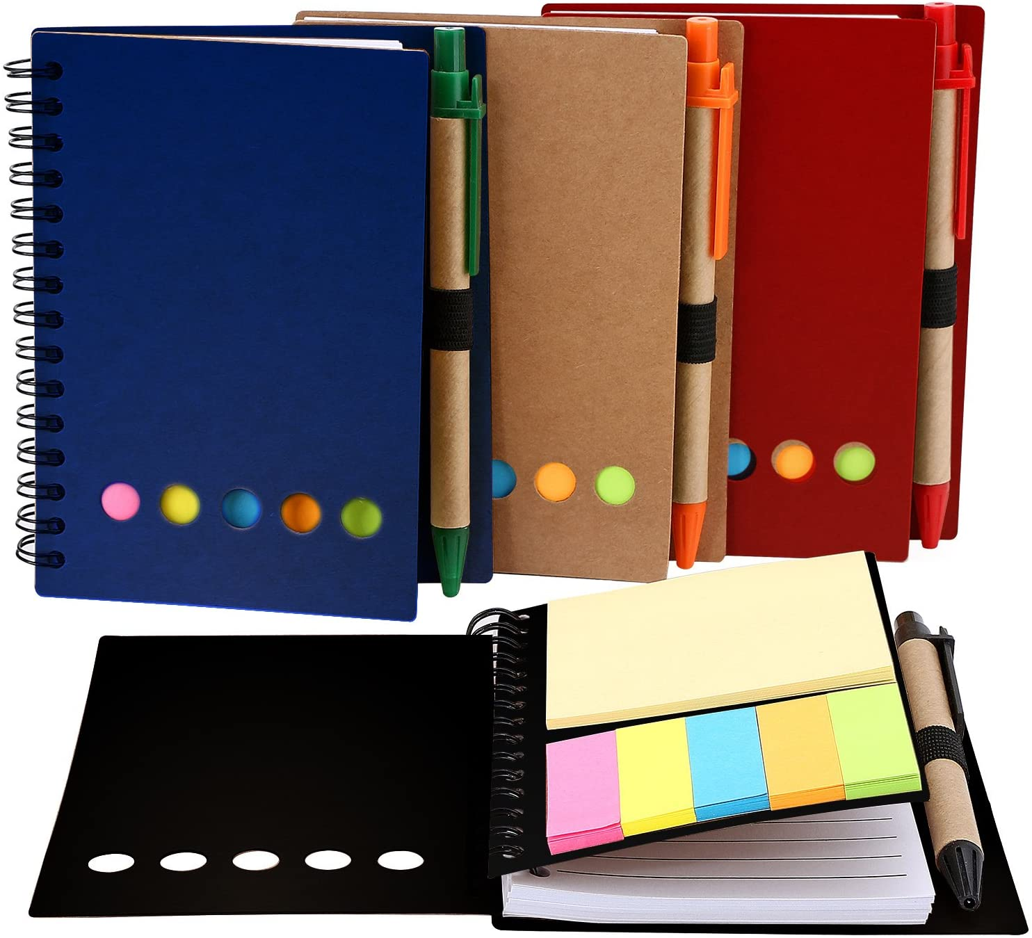 TOODOO 4 Packs Spiral Notebook Lined Notepad with Pen in Holder and Sticky Notes, Page Marker Colored Index Tabs Flags (Red, Blue, Brown, Black Cover)