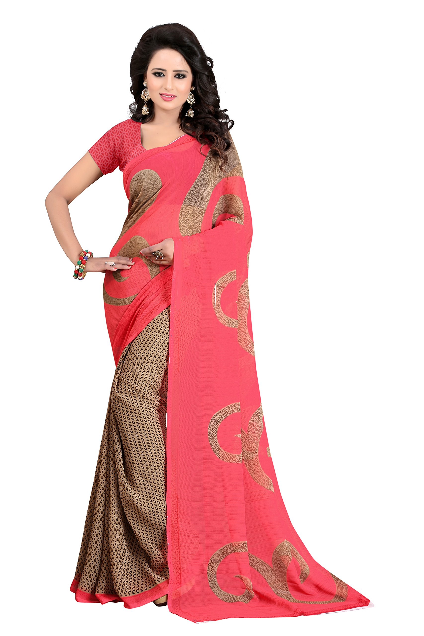 Women's Soft Georgette Crepe Blend Saree With Blouse Piece (Chickoo)