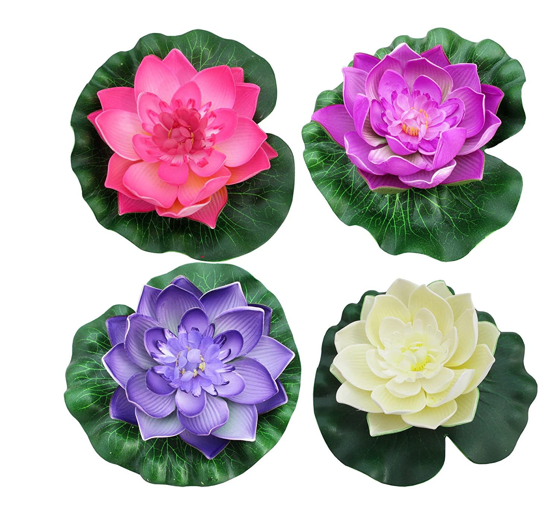 Amazon Raanpahmuang 4 Pcs Large Artificial Floating Foam Lotus