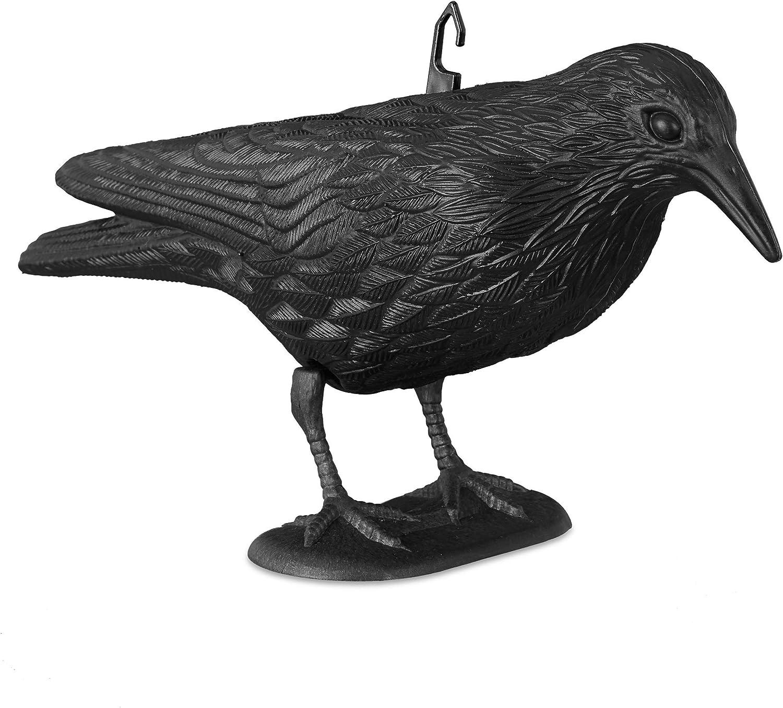 Relaxdays Cuervo Espantapájaros para Jardín, Plástico, Negro, 20 x 33 x 12 cm