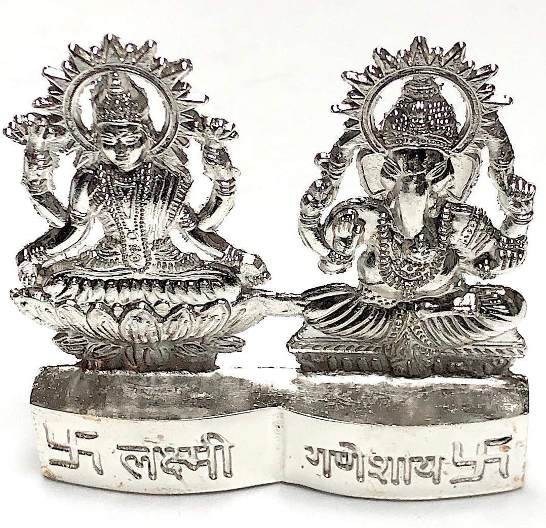 Sri laxmi Ganesh Idol, Sri Lakshmi Ganpati puja figurine in Astadhatu (mix of 8 metals) Gold & Silver polished murti - Energized For Good Luck, Wealth, Prosperity, Financial Success (Silver Polished)