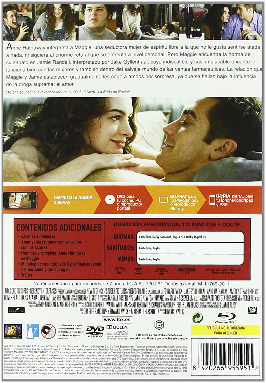 Amazon.com: Amor Y Otras Drogas (Dvd + Br + Copia Digital) (Import Movie) (European Format - Zone 2) (2011) Jake Gyllenhaal;: Movies & TV
