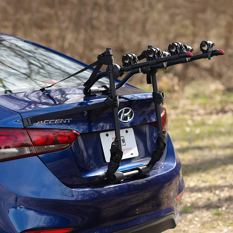 Quick Release Design Hatchbacks Minivans Fits Most Sedans and SUVs KAC Sport T3 Trunk Mounted 3-Bike Carrier Rack
