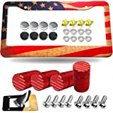 Aootf American Flag License Plate Frame 2 Hole- Heavy Duty Aluminum Patriotic Car Tag Cover with Black/Chrome Screws Caps, Re
