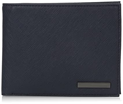 2b9122255ee3 Armani Exchange Men's Safiano Embossed Pu Bifold Wallet with Coin Pocket,  blue, One Size