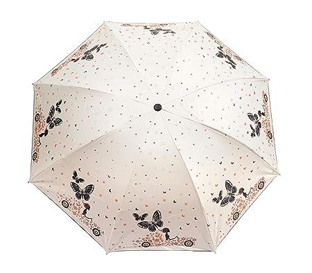 Butterfly Style Black Coating Cartoon Rain Umbrella Women 6K Light Pocket Girls Parasol 3 Folding Anti-UV Protection & Dome Shape Sun Rain Umbrella, Pack of 1
