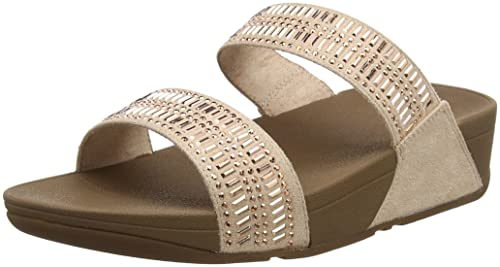 FitFlop Damen Glitzie Slide Sandals Peeptoe, Beige (Nude), 37 EU