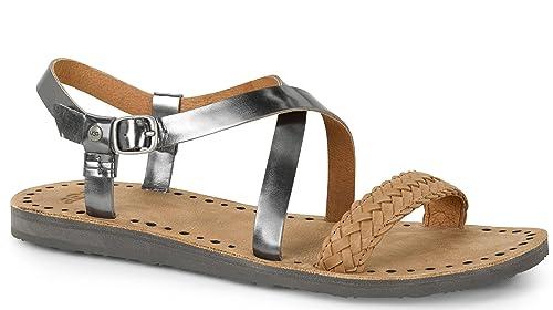 59a27ac52dc UGG Women's Jordyne Pewter Leather Sandal 7 B (M): Amazon.ca: Shoes ...