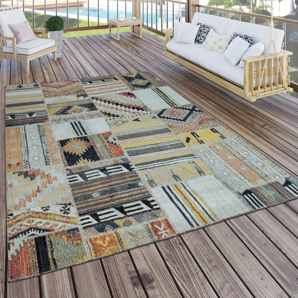 Paco Home Tapis Intérieur Et Extérieur Ethnique Jaune Crème Rouge, Dimension:60x100 cm