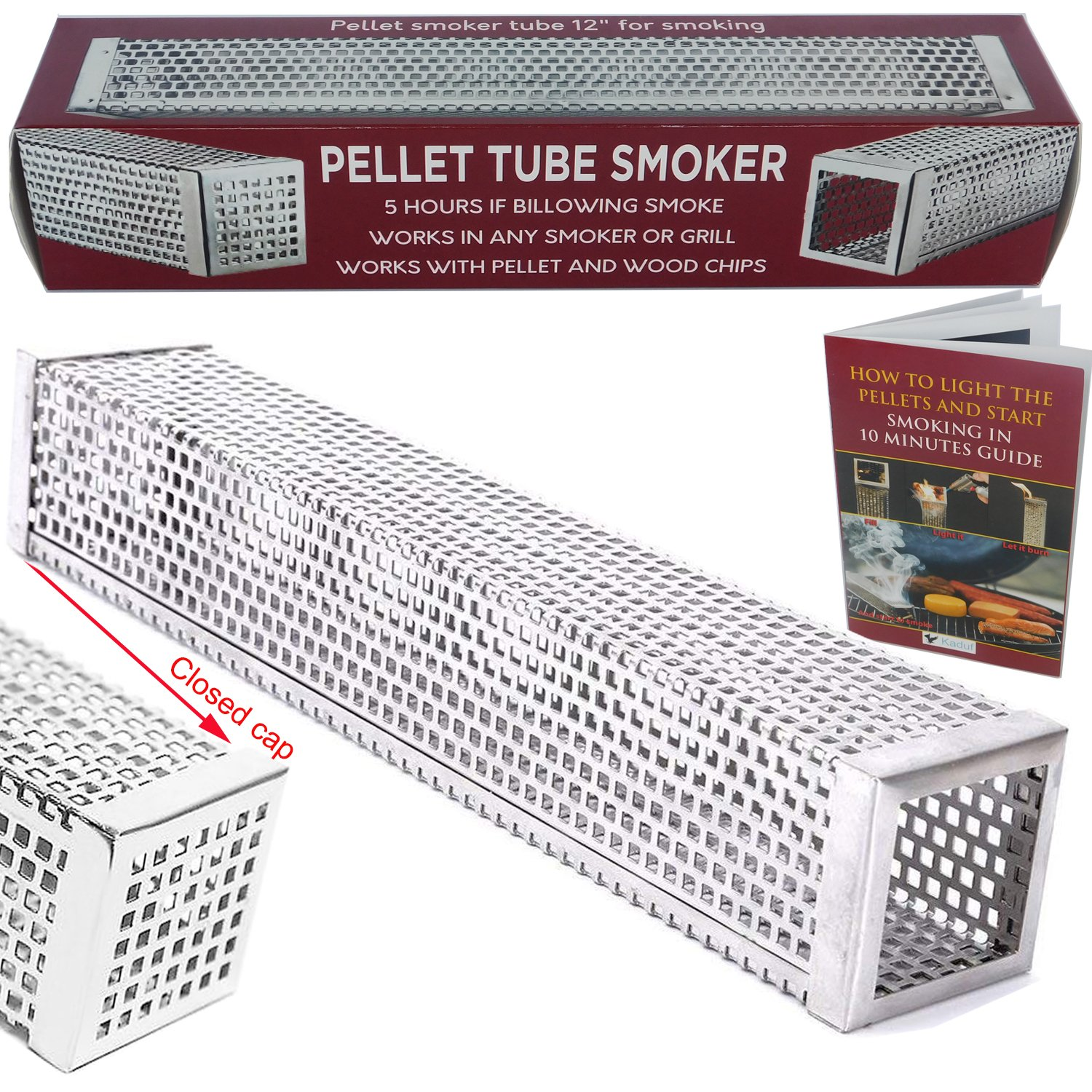 Kaduf Pellet Smoker Tube 12'', 5 Hours Billowing Smoke any Grill Smoker Cold & Hot Smoking Pork, Fish, Cheese - Works Wood Pellets - Free eBook Smoking Recipes