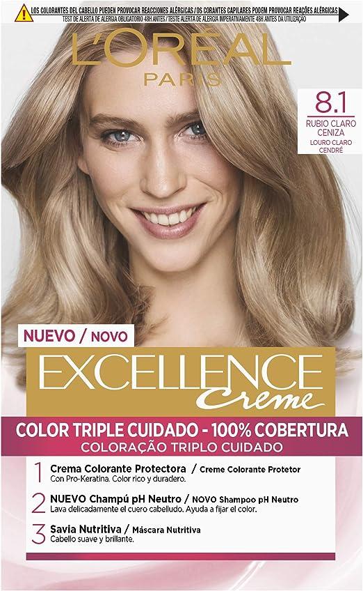 LOreal Paris Excellence Creme Tinte Permanente Tono 8.1 Rubio Claro Ceniza