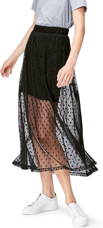 Marca Amazon - find. Falda de Tul Larga con Lunares para Mujer ...