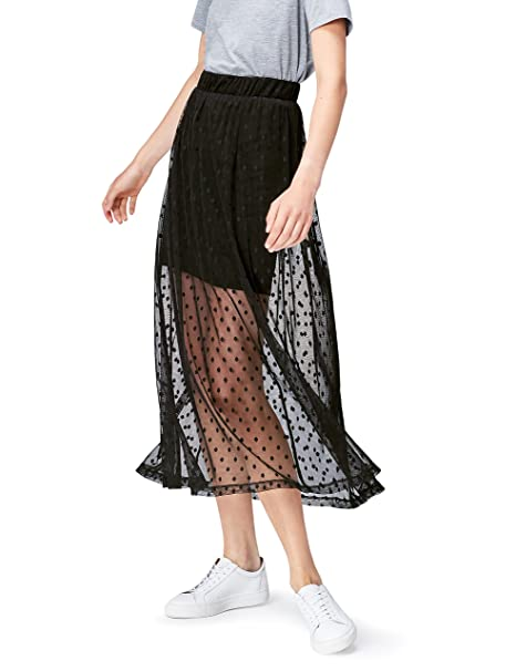 online retailer 4a597 eec7d Marchio Amazon - find. Gonna Trasparente a Pois Donna
