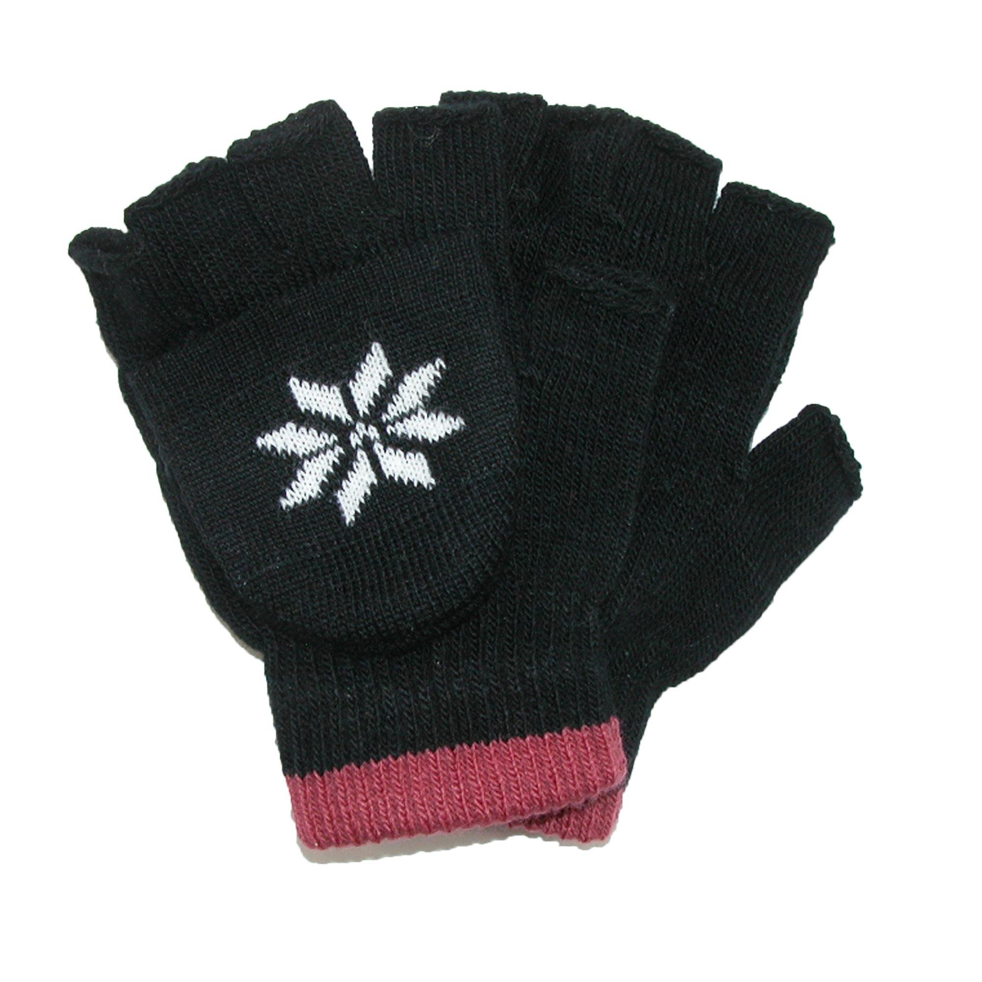 CTM Boys' Stretch Convertible Fingerless Winter Gloves, Black