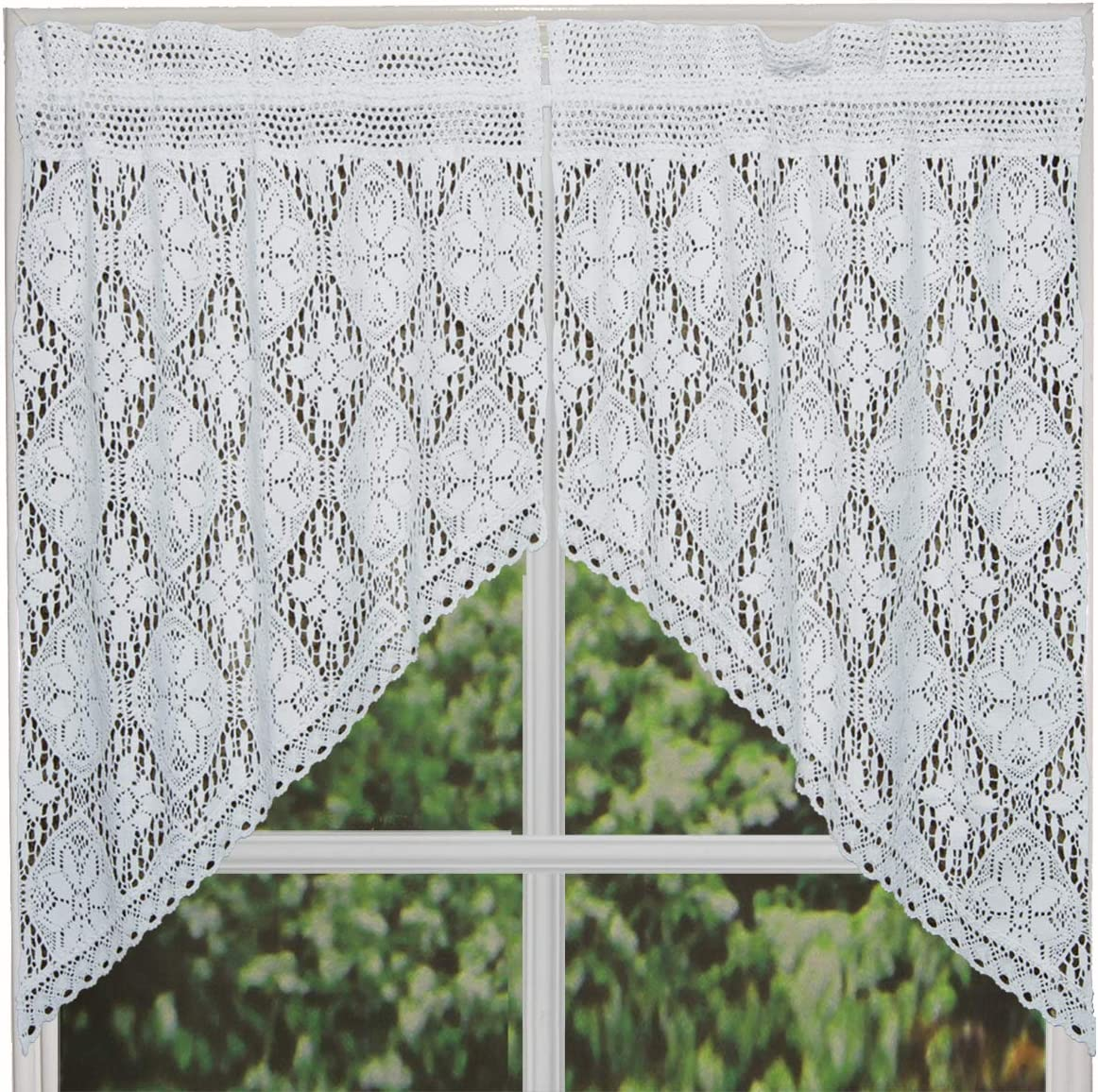 Creative Linens Knitted Crochet Lace Kitchen Curtain 38 L Swags White