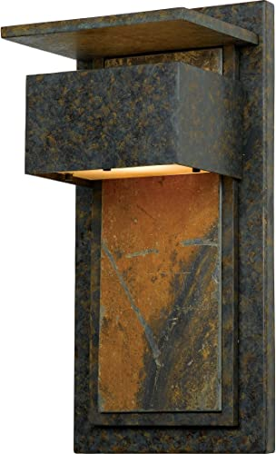Quoizel ZP8418MD Zephyr Outdoor Unique Slate Wall Lantern Wall Mount Lighting, 1-Light, 50 Watt, Muted Bronze 18 H x 9 W