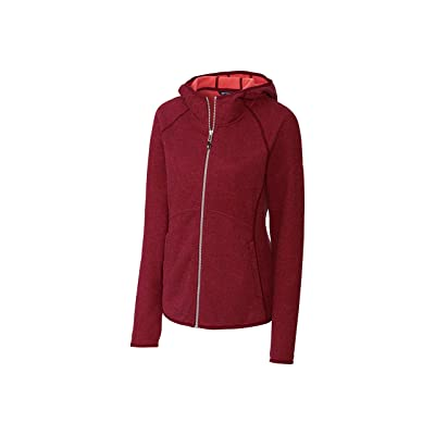 Cutter & Buck Women's Hooded Full Zip Jacket, Red, S: Clothing