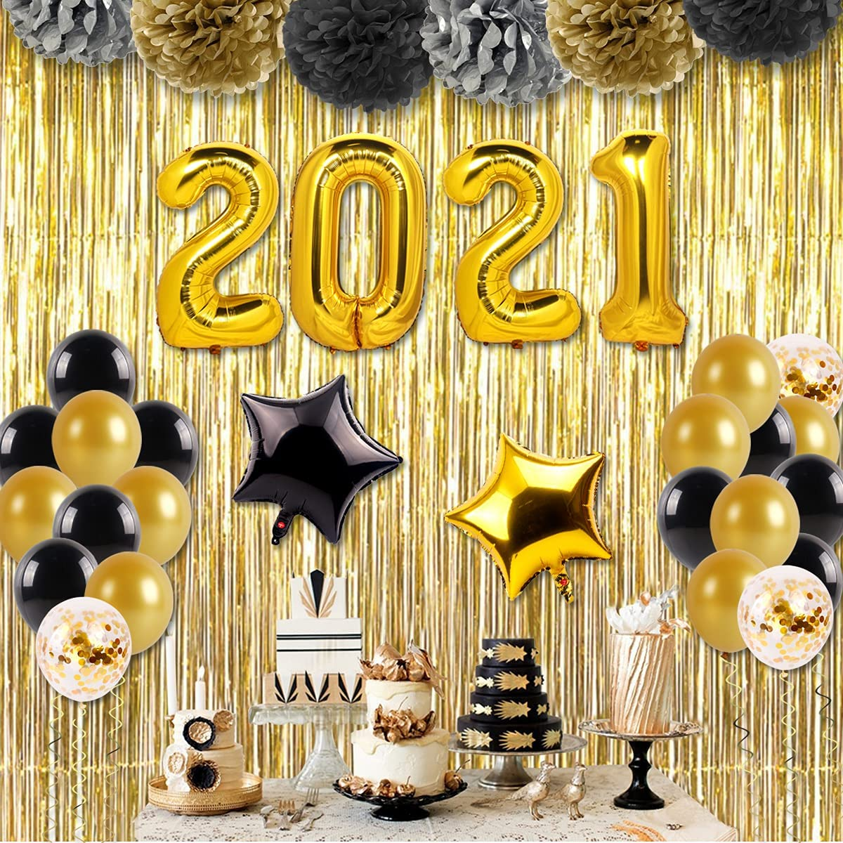 2021 Graduation Decorations Black Balloons - Included 40 Inch
