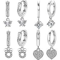ORAZIO 4 Pairs Huggie Dangle Earrings Set Crystal Butterfly Heart Drop Hoop Earrings Stainless Steel Cute Earrings Fashion Jewelry