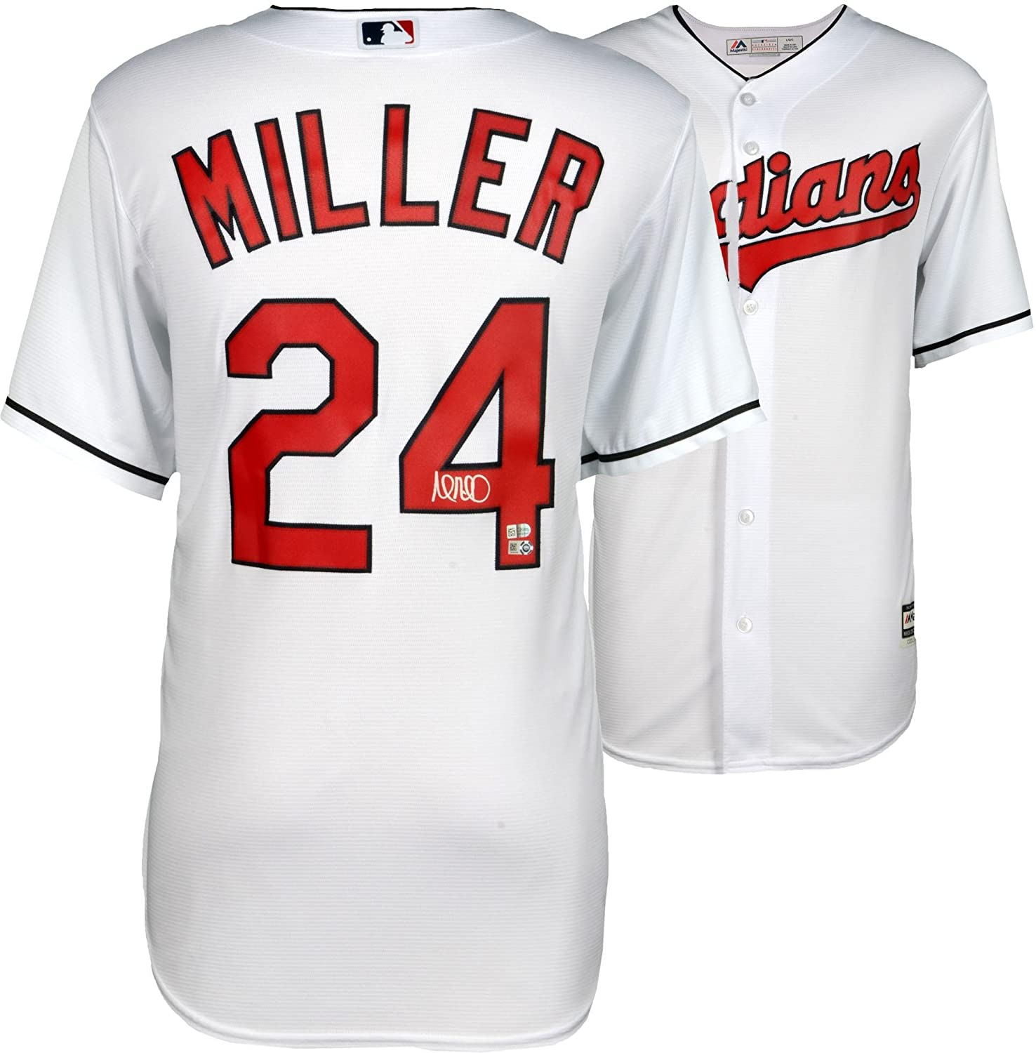 on sale 0c58d b8314 Andrew Miller Cleveland Indians Autographed Majestic White ...
