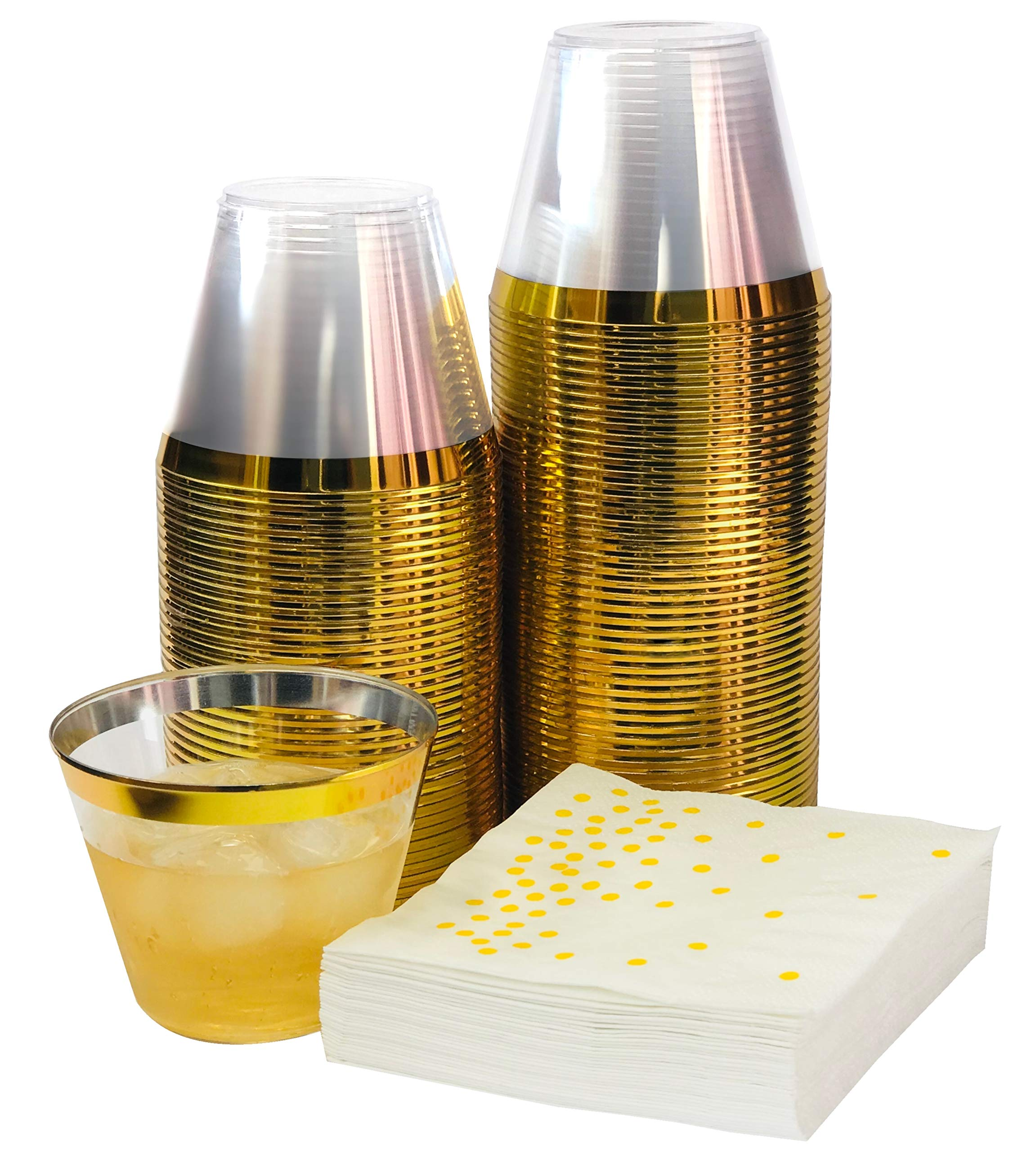 Premium 100 Gold Rimmed 9 oz Clear Plastic Cups + FREE 100 Napkins ~ Perfect for Wedding/Engagement/ Cocktails/Dinner/Wine/Birthday Parties ~ SUPER VALUE PARTY PACK 100 GOLD RIM CUPS + 100 NAPKINS