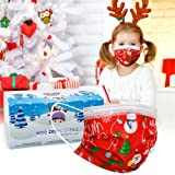Disposable Christmas Mask for Kids Cute Xmas Masks Disposable Kids 3 Layer Masks with Elastic Earloops Red Christmas…