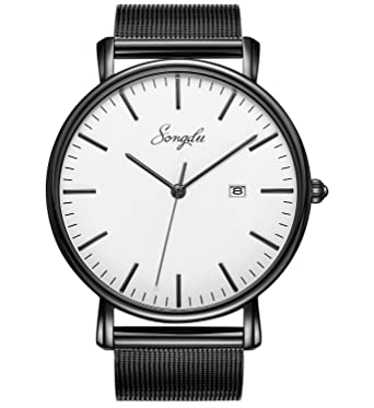 7358bc18c88 SONGDU Men s Fashion Date Slim Analog Quartz Watches with Stainless Steel  Mesh Band (White and