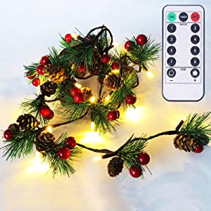 Christmas Garland Lights with Remote and Timer 6.56FT Pine Cone Lights with Red Berry 20 LED Battery Operated Garland String Lights 6 Brightness Pinecones Decor Lights for Thanksgiving Xmas Holiday