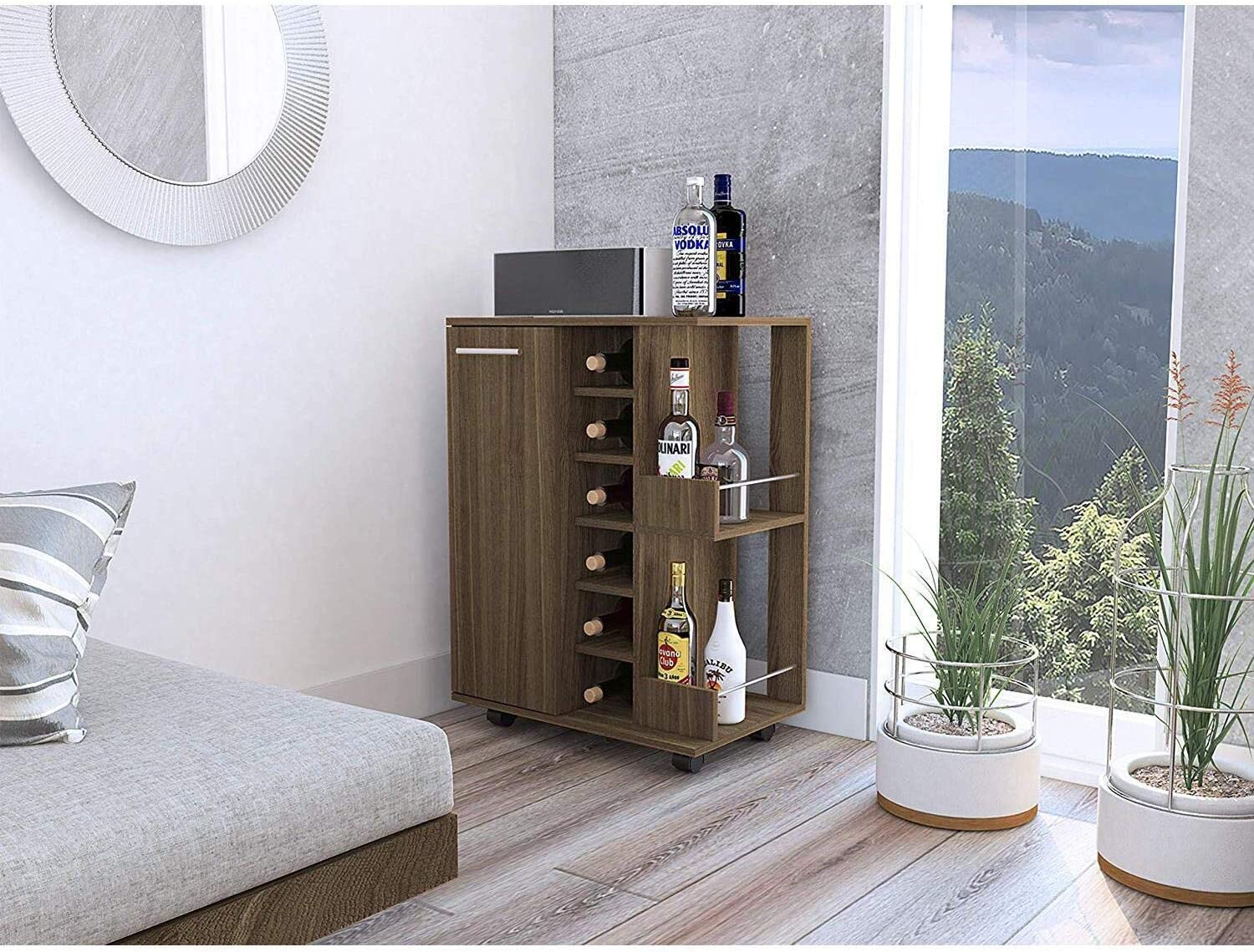 TUHOME Bar Storage Display Cabinet Cart with Wheels for Wine and Liquor with Door, 2 Enclosed Shelves, 6 Cubbies, and 2 Side Display Racks, Amaretto