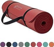 Gaiam Essentials - Esterilla de yoga gruesa para fitness y ejercicio, con correa de transporte para esterilla de yoga fácil de agarrar (72 pulgadas de largo x 24 pulgadas de ancho x 2/5 pulgadas de grosor)