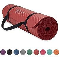 Gaiam Essentials - Esterilla de Yoga Gruesa con Correa de Transporte para Esterilla de Yoga (72 Pulgadas de Largo x 24 Pulgadas de Ancho x 2/5 Pulgadas de Grosor)