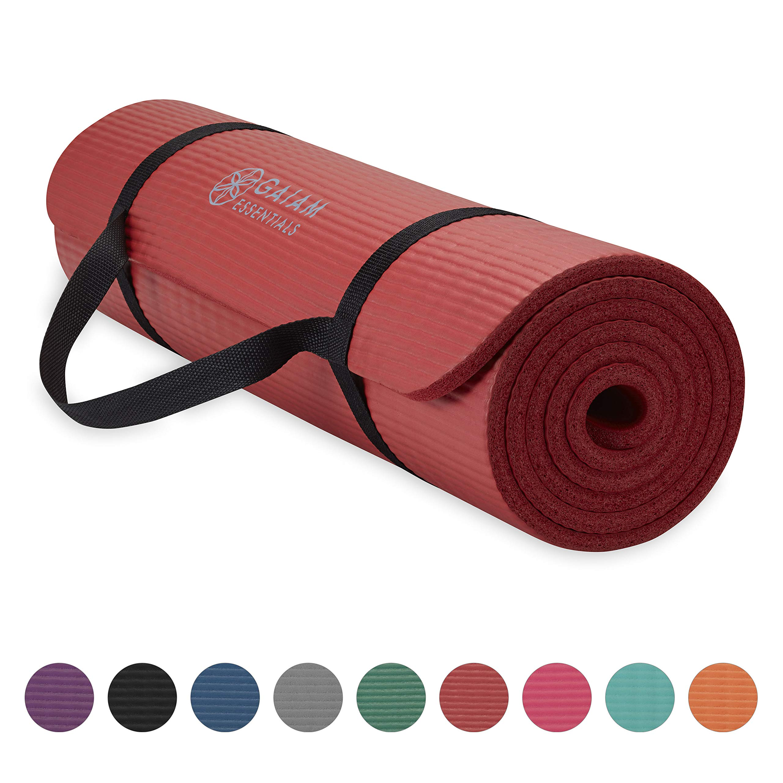 Gaiam Essentials Thick Yoga Mat Fitness & Exercise Mat with Easy-Cinch Yoga Mat Carrier Strap, Red, 72''L x 24''W x 2/5 Inch Thick