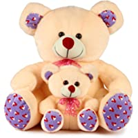Deals India Mother with Baby Teddy, Cream